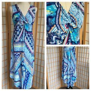 Chico's Sleeveless Print Maxi Dress SZ 1 (M/8)